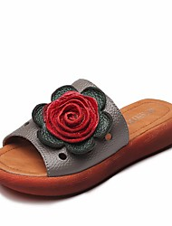 cheap -Women's Shoes Cowhide Summer Comfort Slippers & Flip-Flops Low Heel for Casual Black Gray Red