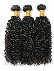 Недорогие -3 Связки Евро-Азиатские волосы Кудрявый Натуральные волосы Накладки из натуральных волос Ткет человеческих волос Удлинитель Естественный цвет Расширения человеческих волос Все