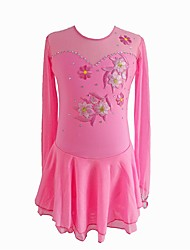 abordables -Vestido de patinaje artístico Mujer / Chica Patinaje Sobre Hielo Vestidos Rosa Licra Ropa de Patinaje Lentejuela Manga Larga Patinaje