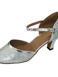 abordables -Femme Chaussures Modernes Paillette Brillante Talon Intérieur Talon Cubain Personnalisables Chaussures de danse Argent
