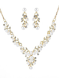 cheap -Geometric Jewelry Set - Leaf Sweet Include Hoop Earrings / Pendant Necklace Gold / Silver For Party / Engagement