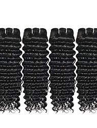 Недорогие -4 Связки Индийские волосы Волнистый 8A Необработанные натуральные волосы Человека ткет Волосы Накладки из натуральных волос Естественный цвет Ткет человеческих волос