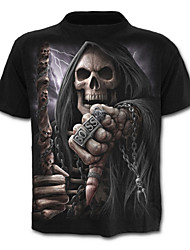 economico -T-shirt Per uomo Teschio Esagerato Con stampe, Ritratto Alfabetico Teschi