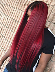 cheap -Synthetic Lace Front Wig Straight Middle Part 150% Density Synthetic Hair Heat Resistant / Ombre Hair / Natural Hairline Burgundy Wig Women's Long Lace Front Wig / Yes