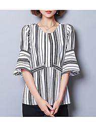 cheap -Women's Basic Blouse - Striped Black & White, Print