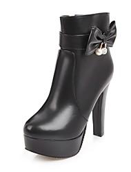 baratos -Mulheres Sapatos Courino Inverno Botas da Moda Botas Salto Robusto Ponta Redonda Botas Curtas / Ankle Laço / Gliter com Brilho para