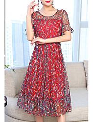 abordables -Mujer Tallas Grandes Básico Manga de la llamarada Gasa Vestido - Estampado, Floral Midi