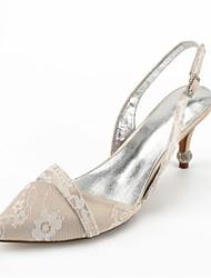baratos -Mulheres Sapatos Renda Verão Tira no Tornozelo / Plataforma Básica / D'Orsay Sapatos De Casamento Salto Cone Dedo Apontado Pedrarias /