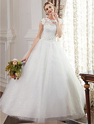cheap -Ball Gown Jewel Neck Floor Length Lace Over Tulle Custom Wedding Dresses with Beading Appliques by LAN TING BRIDE®