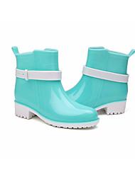baratos -Mulheres Sapatos Pele PVC Primavera Botas de Chuva Botas Sem Salto Marron / Rosa claro / Azul Claro
