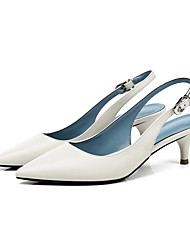 abordables -Femme Chaussures Cuir Nappa Eté Mary Jane Chaussures à Talons Kitten Heel Bout pointu Boucle Blanc / Noir / Soirée & Evénement