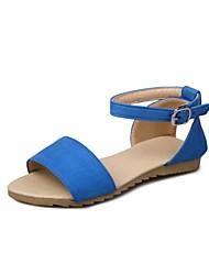 Недорогие -Жен. Обувь Материал на заказ клиента Лето Удобная обувь Сандалии На плоской подошве Открытый мыс Красный / Синий / Миндальный