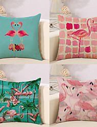 cheap -4 pcs Cotton / Linen Pillow Cover, Flamingo Artwork Animal Artistic Style Tropical