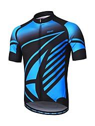 abordables -Arsuxeo Homme Manches Courtes Maillot de Cyclisme - Bleu Vélo Maillot, Bandes Réfléchissantes, Anti-transpiration