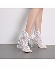 abordables -Femme Chaussures Tulle Printemps été Escarpin Basique Chaussures à Talons Talon Bottier Bout ouvert pour Bureau et carrière / Soirée &