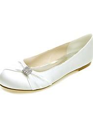 お買い得  -女性用 靴 サテン 春夏 バレリーナ フラット フラットヒール ラウンドトウ ラインストーン のために 結婚式 / パーティー ホワイト / パープル / クリスタル