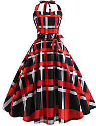 cheap -Women's Vintage Swing Dress - Geometric Print