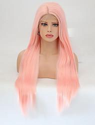 baratos -Perucas Lace Front Sintéticas Liso Rosa Corte em Camadas Cabelo Sintético Riscas Naturais Rosa Peruca Mulheres Longo Frente de Malha / Sim