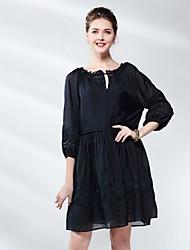 lång svart klänning med lång ärm