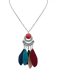 cheap -Cubic Zirconia Thick Chain Pendant Necklace / Chain Necklace - Resin Feather Fashion Blue, Wine, Light Green 70 cm Necklace For Carnival, Date