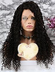 baratos -Cabelo Remy Peruca Cabelo Brasileiro Encaracolado Corte em Camadas 150% Densidade Com Baby Hair / 100% Virgem Natural Curto / Longo /