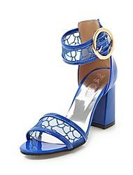 Недорогие -Жен. Обувь Искусственная кожа Лето Туфли д'Орсе Сандалии На толстом каблуке Открытый мыс Белый / Черный / Темно-синий / Свадьба