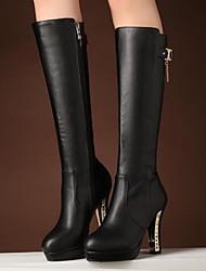 cheap -Women's Shoes PU(Polyurethane) Winter Fashion Boots Boots Chunky Heel Knee High Boots Black