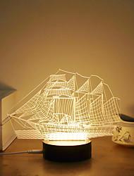Недорогие -1 комплект 3D ночной свет Тёплый белый USB Творчество / Стресс и тревога помощи / Украшение 5V