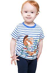 Недорогие -Дети / Дети (1-4 лет) Мальчики Синий и белый Полоски С короткими рукавами Футболка