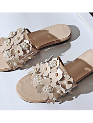cheap -Women's Shoes Cowhide Summer Comfort Slippers & Flip-Flops Flat Heel White / Black / Almond