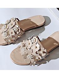 cheap -Women's Shoes Cowhide Summer Comfort Slippers & Flip-Flops Flat Heel for White / Black / Almond