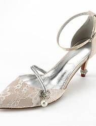 baratos -Mulheres Sapatos Renda Verão D'Orsay / Conforto Sapatos De Casamento Salto Cone Dedo Apontado Pedrarias / Laço / Gliter com Brilho para