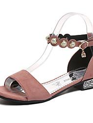Недорогие -Жен. Обувь Замша Лето Удобная обувь Сандалии На низком каблуке Круглый носок Стразы Черный / Бежевый / Розовый