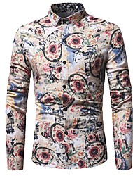 Недорогие -Муж. Рубашка Панк & Готика Уличный стиль Цветочный принт В клетку