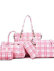 baratos -Mulheres Bolsas PU Conjuntos de saco 5 Pcs Purse Set Estampa Geométrica Vermelho / Rosa / Cinzento