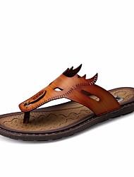 Недорогие -Муж. обувь Искусственное волокно Лето Удобная обувь Сандалии для на открытом воздухе Коричневый Синий Темно-коричневый