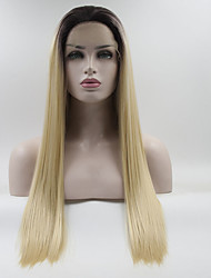 cheap -Synthetic Lace Front Wig / Ombre Straight Golden Middle Part 130% Density Synthetic Hair Color Gradient / Best Quality / Medium Size Golden / Black Wig Women's Long Lace Front Black / Gold