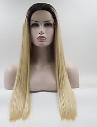 abordables -Peluca Lace Front Sintéticas / Ombre Recto Dorado Parte media 130% Densidad del pelo humano Pelo sintético Gradiente de Color / Mejor calidad / Talla mediana Dorado / Negro Peluca Mujer Larga Encaje