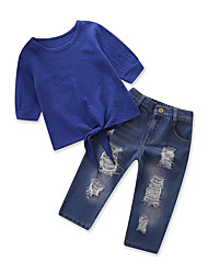 cheap -Kids Toddler Girls' Solid Colored Half Sleeve Clothing Set