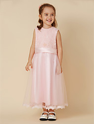 cheap -A-Line Short / Mini Flower Girl Dress - Lace Tulle Sleeveless Jewel Neck with Bow(s) Sash / Ribbon by LAN TING BRIDE®