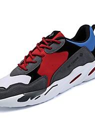 baratos -Homens sapatos Courino Primavera Outono Conforto Tênis Caminhada Corrida para Atlético Casual Preto Bege Cinzento