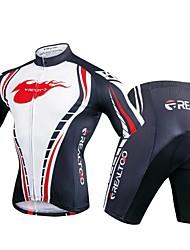Недорогие -Realtoo Муж. С короткими рукавами Велокофты и велошорты - Черный / Белый Велоспорт Наборы одежды, 3D-панель Полиэстер, Спандекс / Эластичная