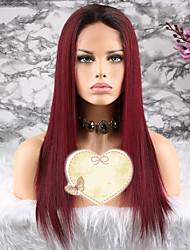 baratos -Cabelo Remy Peruca Cabelo Brasileiro Liso Corte em Camadas 130% Densidade Com Baby Hair / 100% Virgem Vinho Curto / Longo / Comprimento