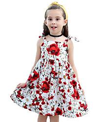 baratos -Infantil Bébé Para Meninas Floral Sem Manga Vestido