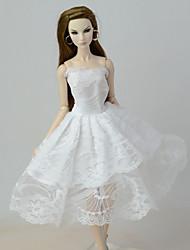 お買い得  -ドレス ドレス ために バービー人形 ホワイト リネン / コットンのブレンド / リネン / ポリエステル混 ドレス ために 女の子の 人形玩具