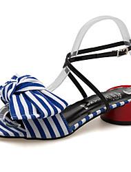 cheap -Women's Shoes Fabric / PU(Polyurethane) Summer Comfort Sandals Chunky Heel Black / Blue