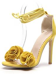 baratos -Mulheres Sapatos Pele Nobuck Verão Conforto / Inovador Sandálias Salto Agulha Dedo Aberto Flor de Cetim Laranja / Amarelo / Rosa claro