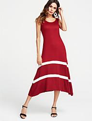 abordables -Mujer Básico Corte Ancho Vestido A Rayas Maxi Negro / Verano