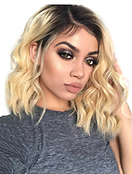 cheap -Remy Human Hair Lace Front Wig Brazilian Hair / Body Wave Wavy Wig Short Bob 130% Ombre Women's Short Human Hair Lace Wig