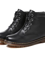 baratos -Mulheres Sapatos Pele Outono & inverno Curta / Ankle / Coturnos Botas Sem Salto Botas Curtas / Ankle Preto
